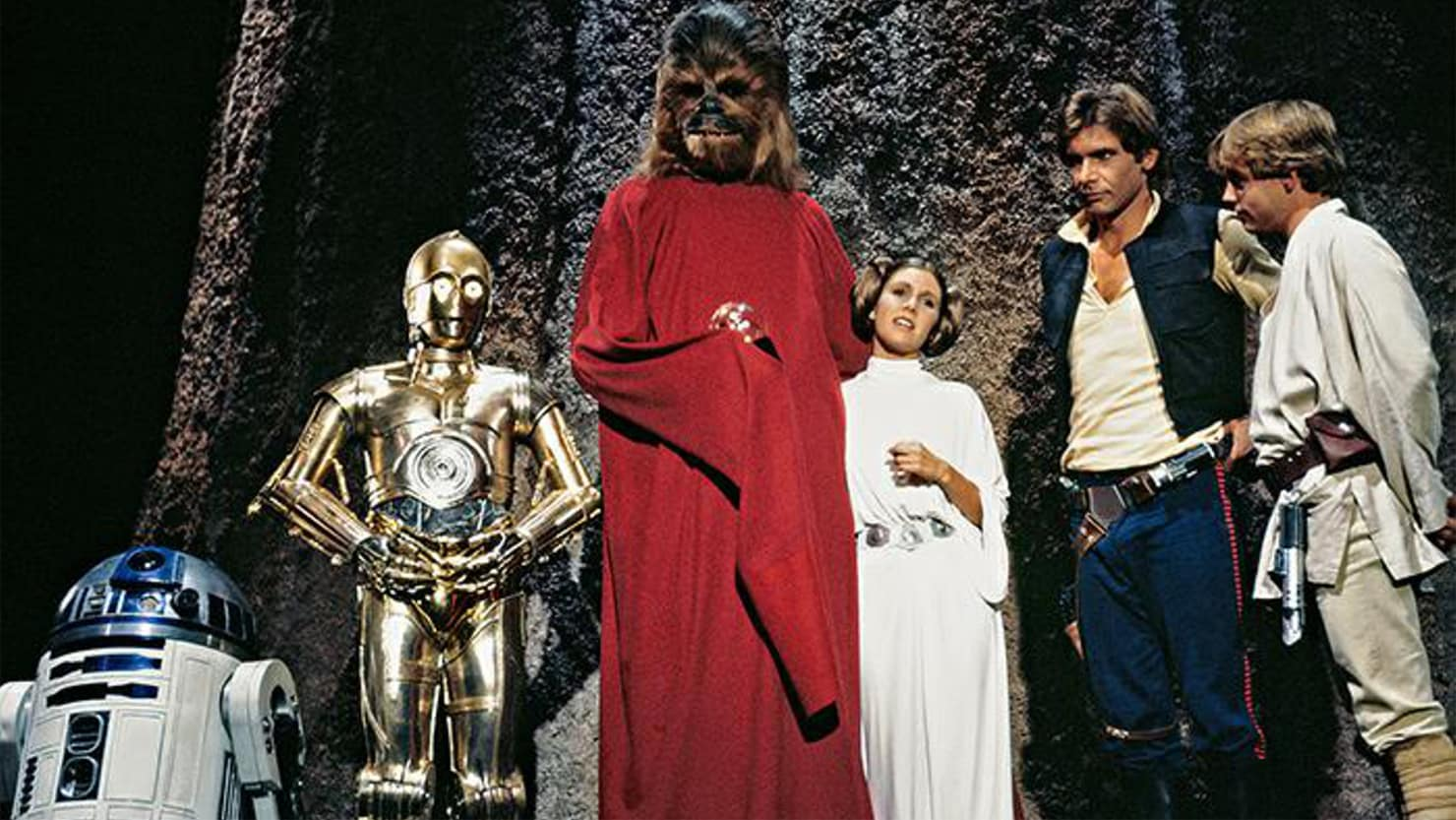 R2D2, C3P0 (Anthony Daniels), Chewbacca (Peter Mayhew), Princess Leia (Carrie Fisher), Han Solo (Harrison Ford) and Luke Skywalker (Mark Hamill) return home for Life Day in The Star Wars Holiday Special (1978)