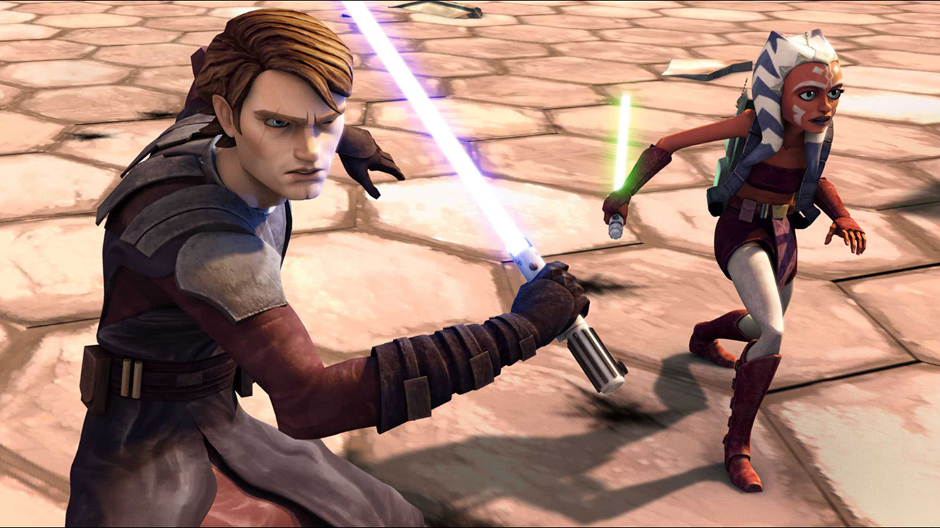 Anakin Skywalker and his padawan Ahsoka Tano in Star Wars The Clone Wars (2008)