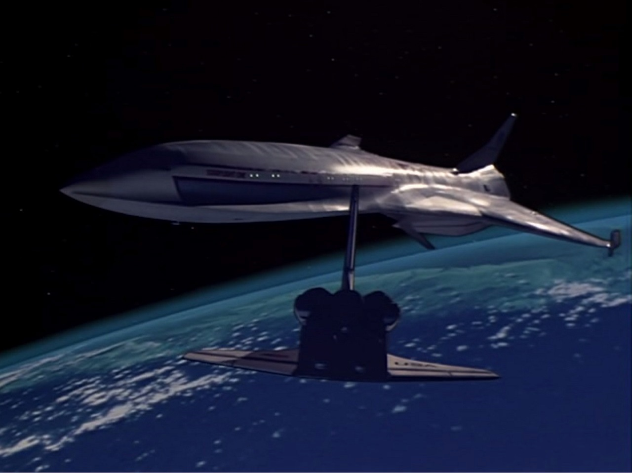 The space shuttle approaches the Starflight 1 in Starflight One (1983)
