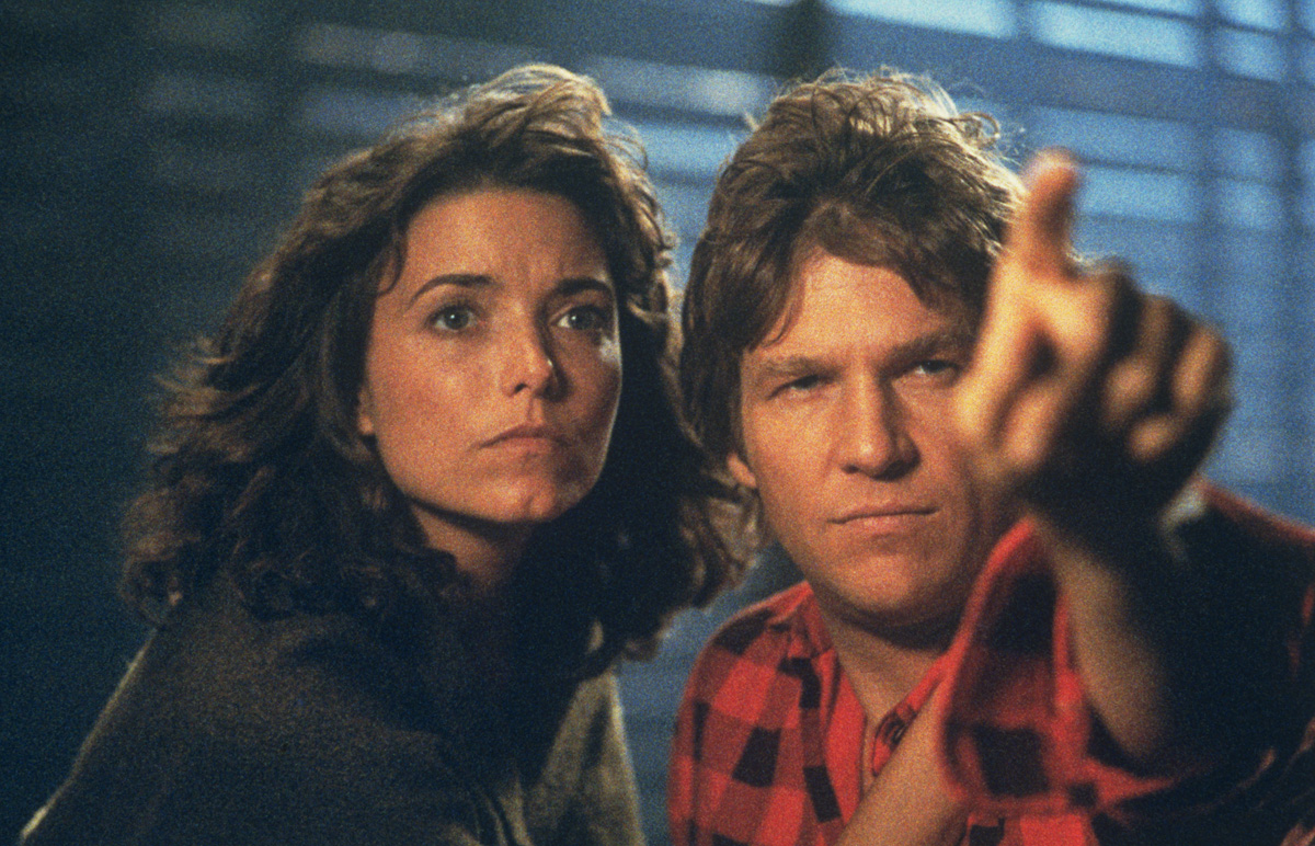 Widow Karen Allen with Jeff Bridges as the alien inhabiting a body reconstituted from her husband's DNA in Starman (1984)