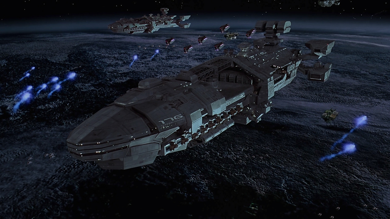 Space war scene from Starship Troopers (1997)