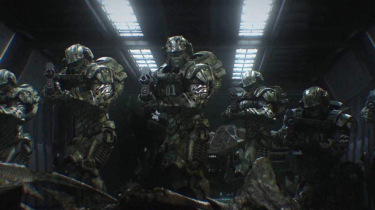 A unit of soldiers enter the deserted ship in Starship: Troopers Invasion (2012)