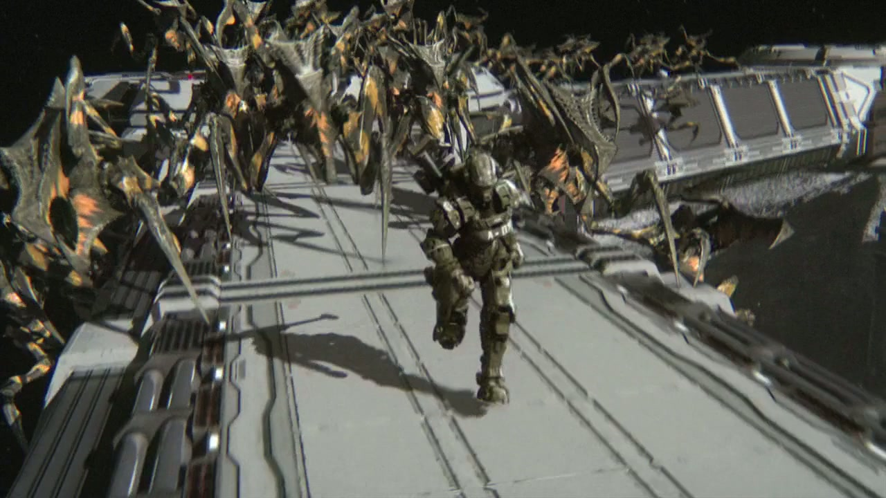 Soldiers vs bugs in Starship Troopers: Invasion (2012)