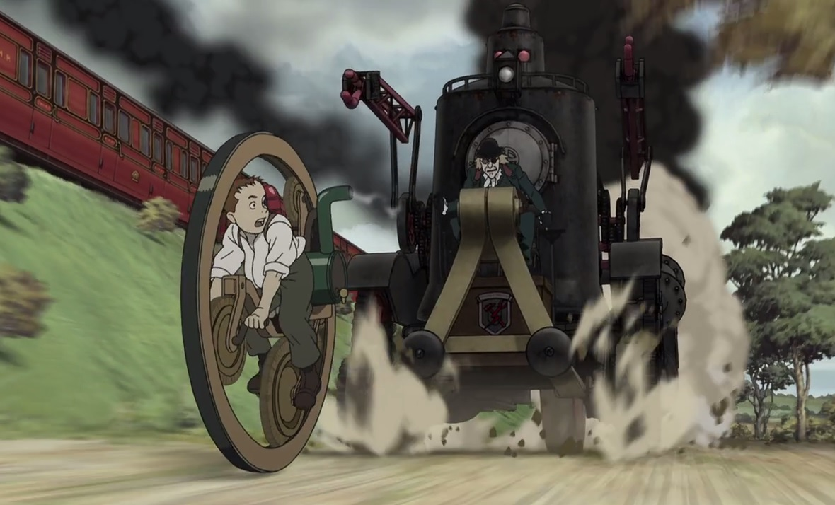 James Ray Steam flees on his steam cycle in Steamboy (2004)