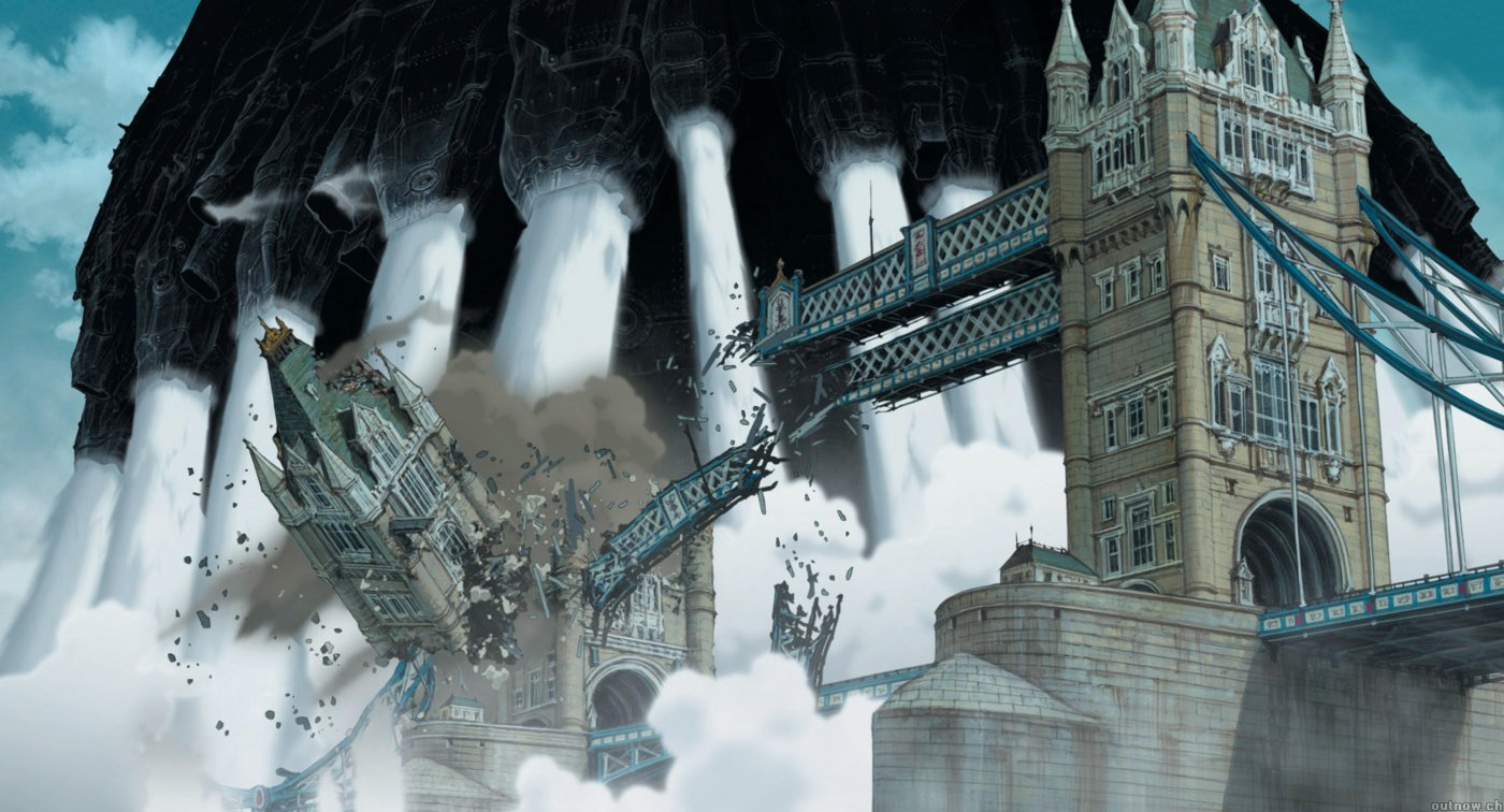 London under attack by the steam castle in Steamboy (2004)