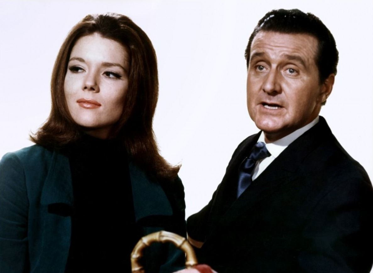 Diana Rigg as Emma Peel and Patrick MacNee as John Steed in tv's The Avengers (1962-9)