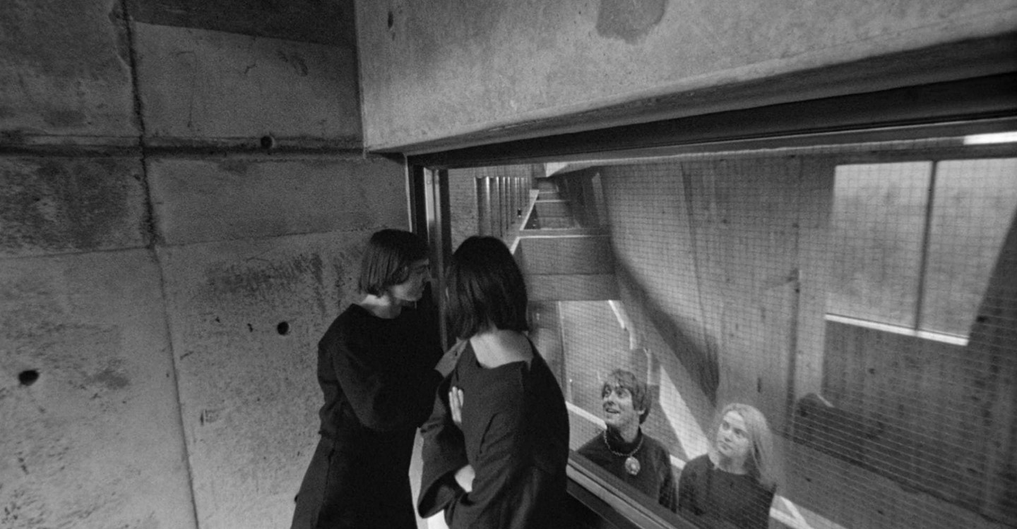 The experimenters in their laboratory (Ronalld Mlodzik third from left) - the unique brutalist architecture of the University of Scarborough in Stereo (1969)