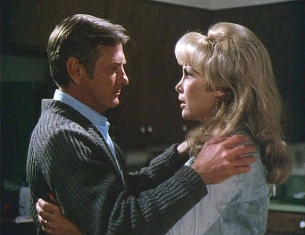 George Grizzard confronts his mysteriously pregnant wife Barbara Eden in The Stranger Within (1974)