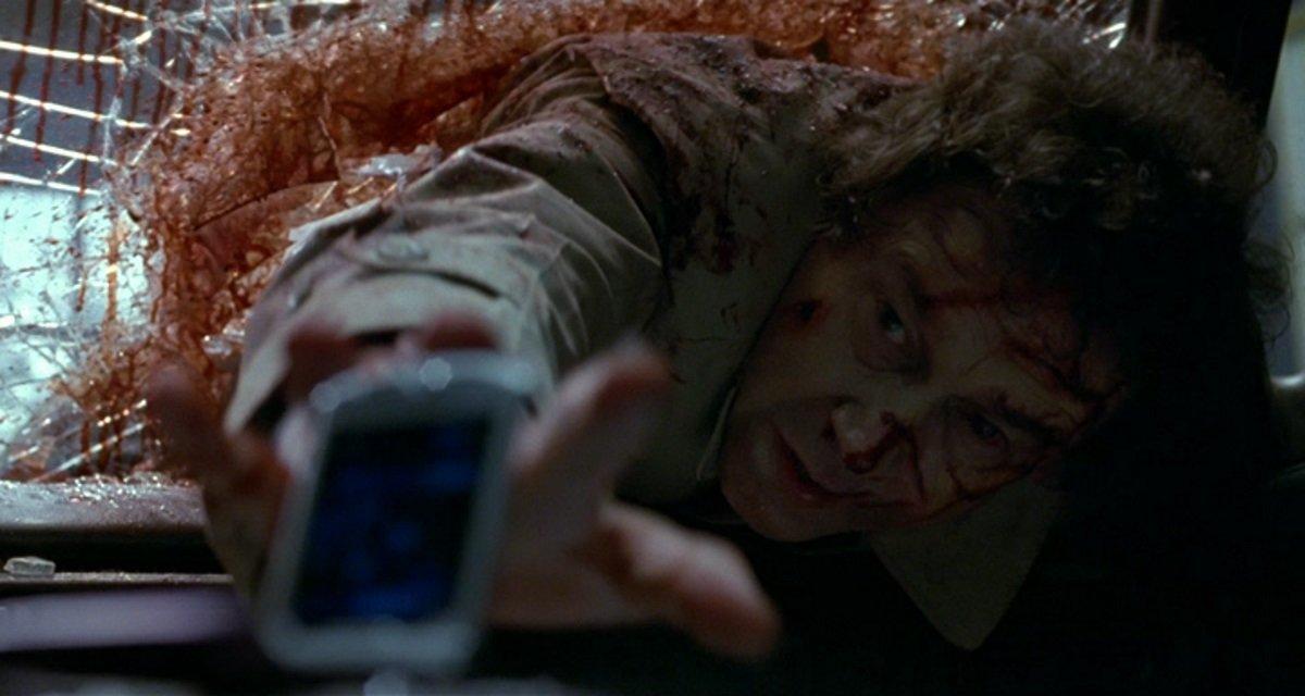 Stephen Rea - a homeless man impaled through a car windscreen in Stuck (2007)