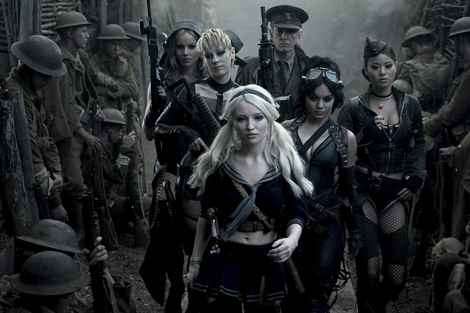 Girls in lingerie on a WWI battlefield - Sweet Pea (Abbie Cornish), Rocket (Jena Malone), Scott Glenn, Blondie (Vanessa Hudgens), Amber (Jamie Chung) and Sweet Pea (Emily Browning) Sucker Punch (2011)