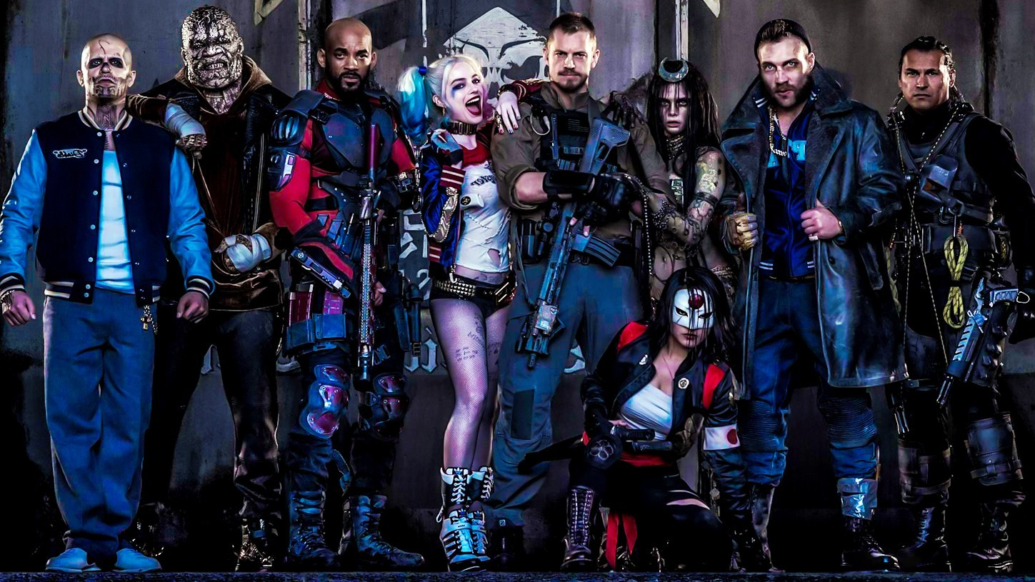 Diablo (Jay Hernandez), Killer Croc (Adewale Akinnuoye-Agbaje), Deadshot (Will Smith), Harley Quinn (Margot Robbie), Rick Flag (Joel Kinnaman), Enchantress (Cara Delevingne), Katana (Karen Fukuhara), Captain Boomerang (Jai Courtney) and Slipknot (Adam Beach) in Suicide Squad (2016)