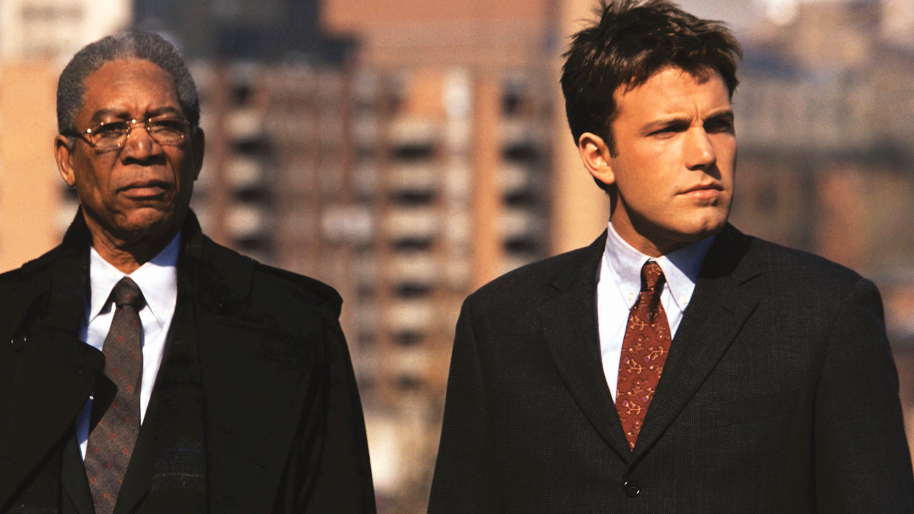 Ben Affleck as a younger Jack Ryan with Morgan Freeman as CIA director Bill Cabot in The Sum of All Fears (2002)