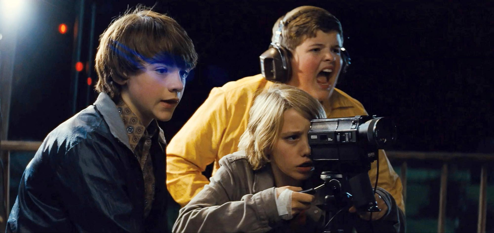 Kids making Super 8 films - Joel Courtney, Ryan Lee, Riley Griffiths in Super 8 (2011)