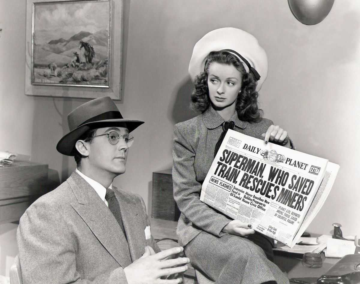 Kirk Alyn as Clark Kent, Noel Neill as Lois Lane in Superman (1948)