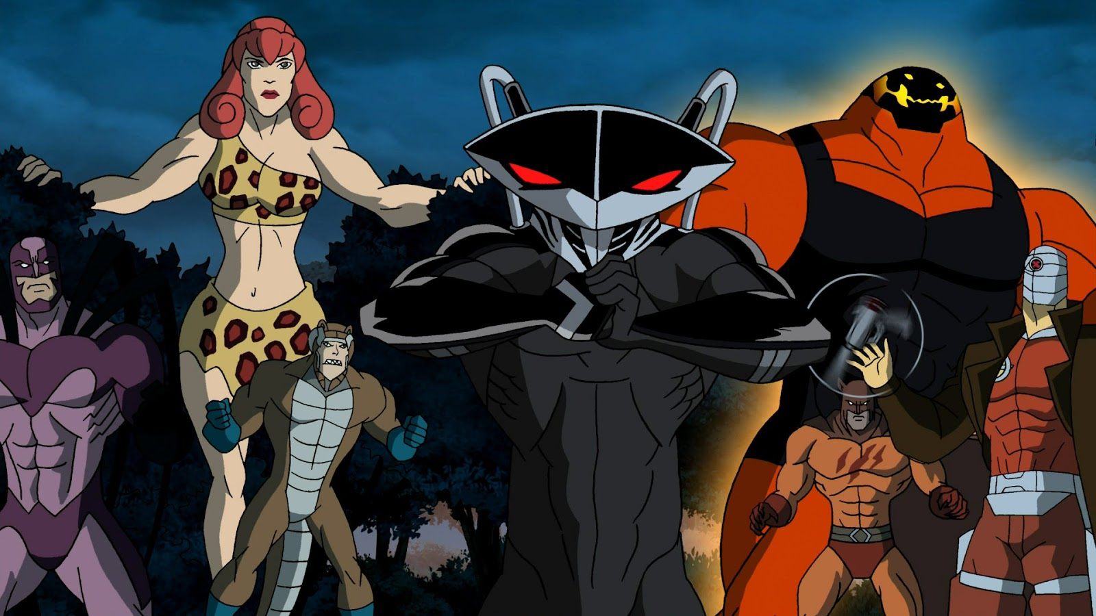 Kestrel, Giganta, Copperhead, Black Manta, Brimstone, Catman and Deadshot in Superman/Batman Public Enemies (2009)