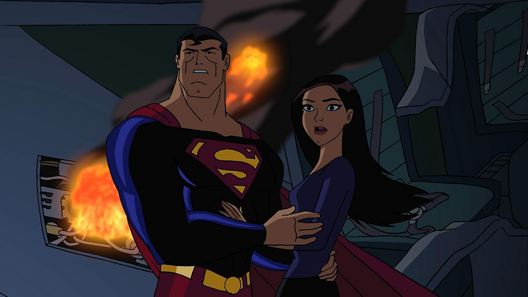 Superman (voiced by Adam Baldwin) and Lois Lane (voiced by Anne Heche) in Superman Doomsday (2007)