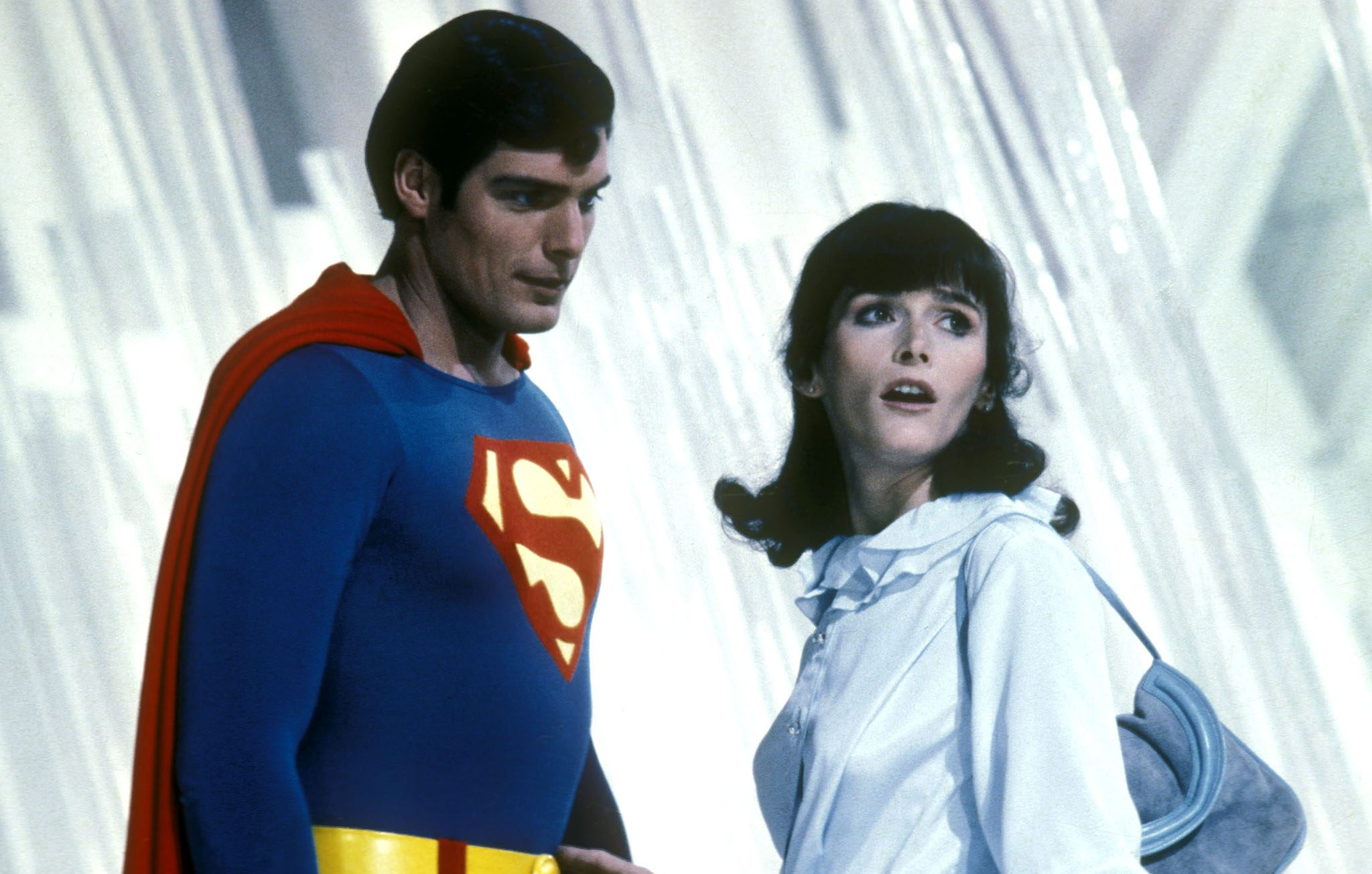 Solving the eternal love triangle - Superman (Christopher Reeve) introduces Lois Lane (Margot Kidder) to the Fortress of Solitude in Superman II (1980)
