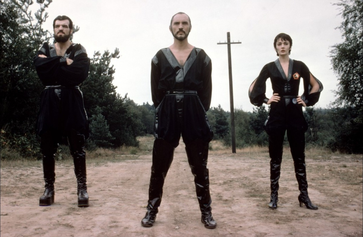 The Phantom Zone villains - (l to r) Non (Jack O'Halloran), General Zod (Terence Stamp) and Ursa (Sarah Douglas) in Superman II (1980)