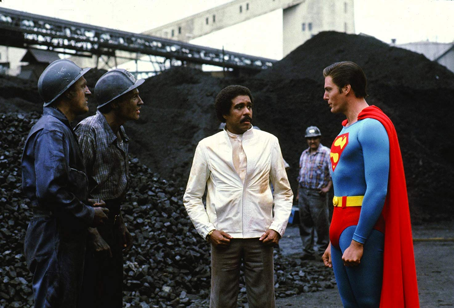 Superman (Christopher Reeve) paired with Richard Pryor in Superman III (1983)