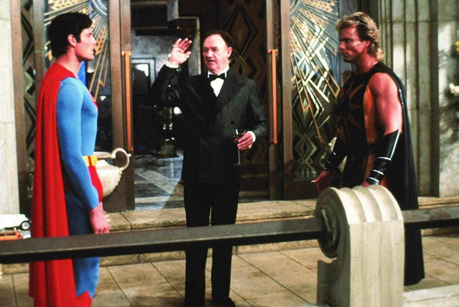 Lex Luthor (Gene Hackman) introduces Superman (Christopher Reeve) to Nuclear Man (Mark Pillow) in Superman IV The Quest for Peace (1987)