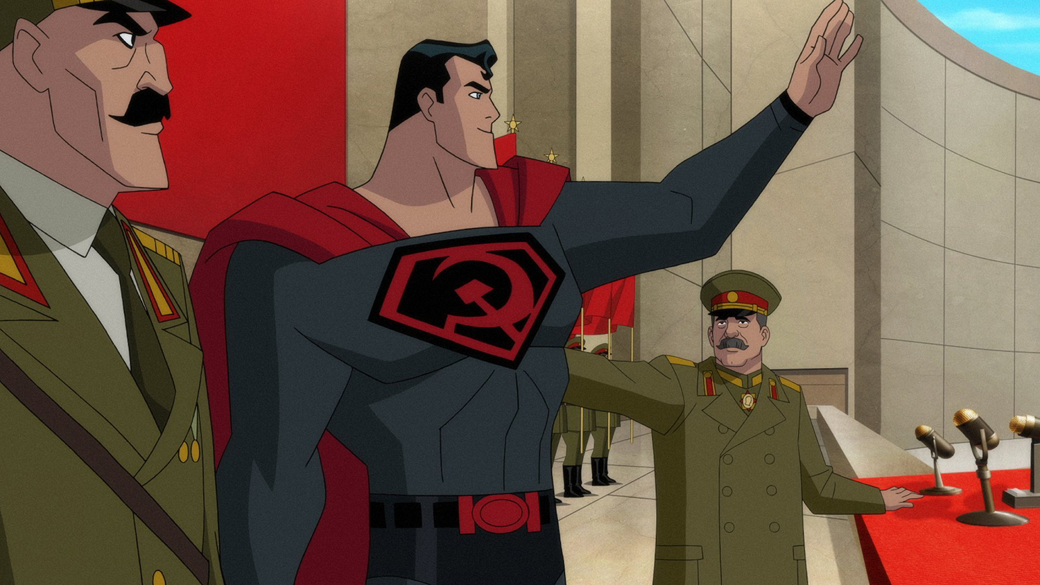 Superman (voiced by Jason Isaacs) with Soviet premier Joseph Stalin (voiced by William Salyers) in Superman: Red Son (2020)
