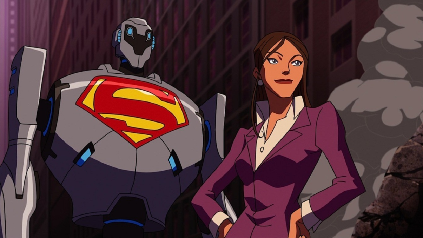 Lois Lane and one of the Super Robots in Superman vs. The Elite (2012)