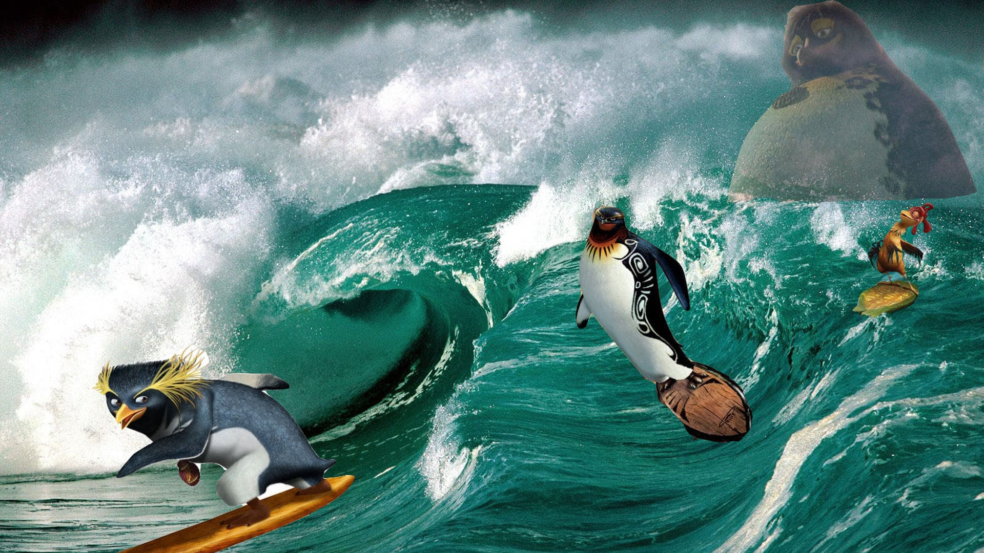 Surfing penguins - Cody, The Big Z and Chicken Joe in Surf's Up (2007)