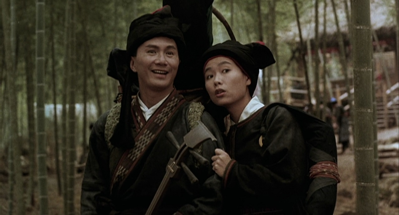 Sam Hui with sidekick Michelle Reis unaware that she is a girl disguised as a boy in Swordsman (1990)