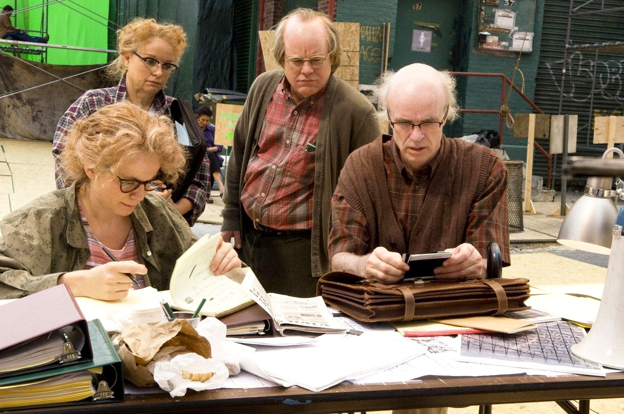 Samantha Morton and Philip Seymour Hoffman and the actors that play them Emily Watson and Tom Noonan in Synecdoche, New York (2008)