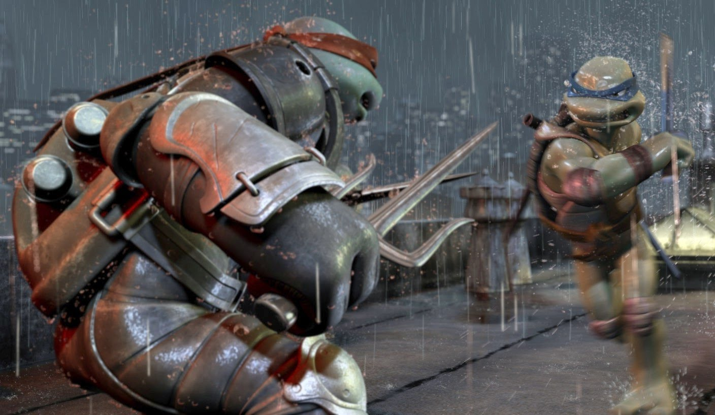 Satisfyingly kinetic action scenes - Turtle vs Turtle, Raphael up against Leonardo in TMNT (2007)