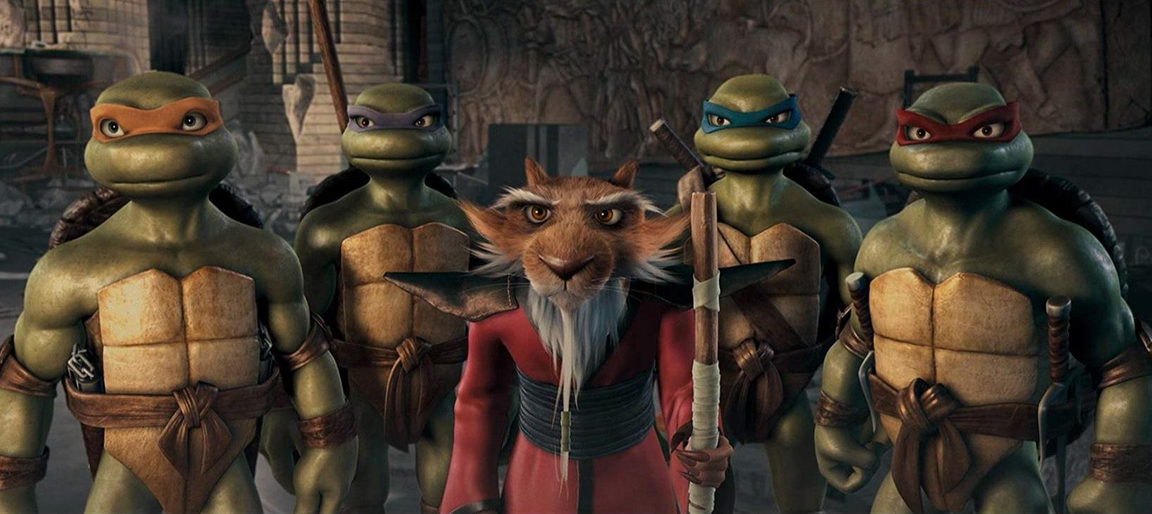 An animated revival of the Teenage Mutant Ninja Turtles - (l to r) Michelangelo, Donatello, Splinter, Leonardo and Raphael in TMNT (2007)