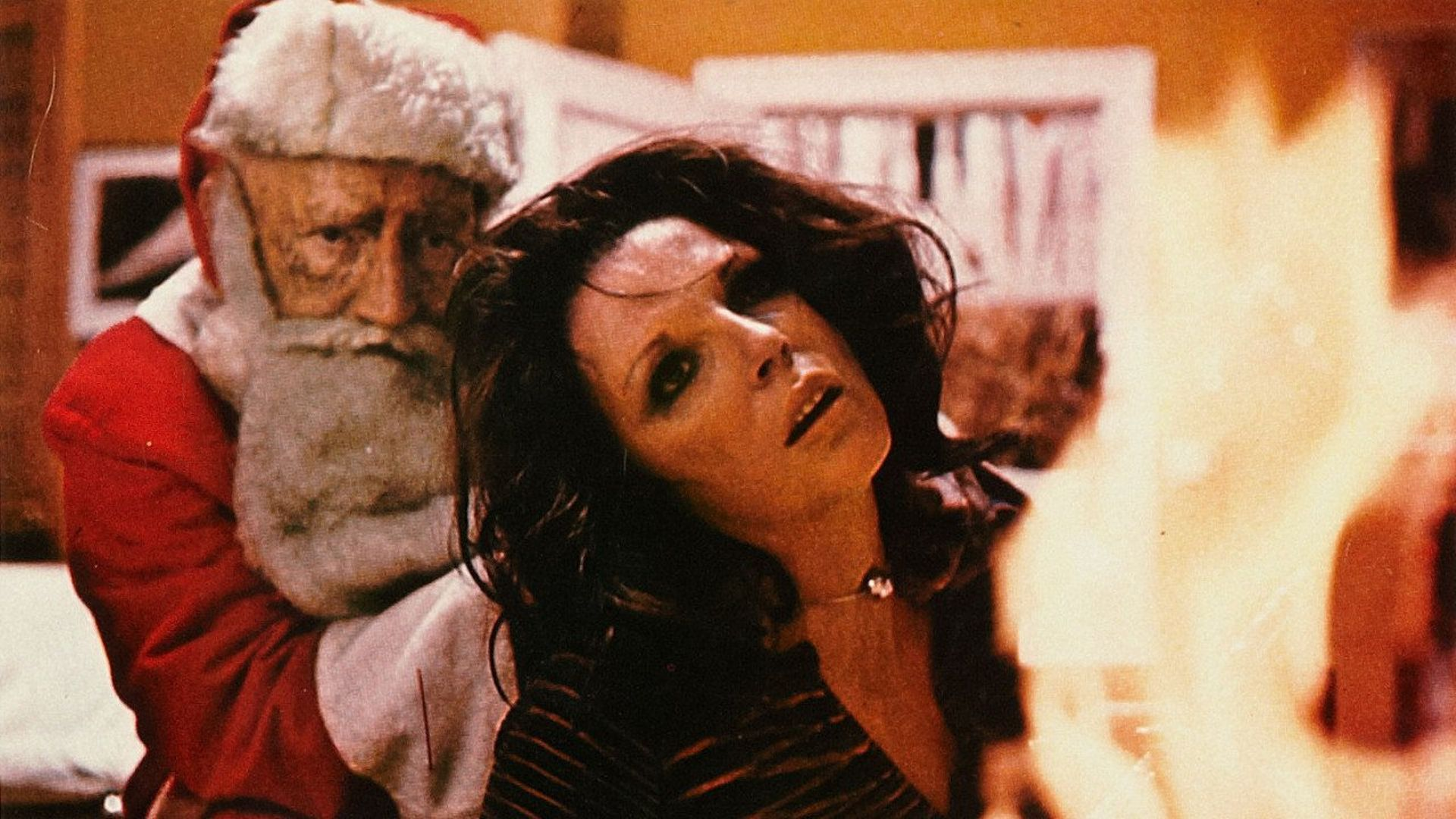 Joan Collins attacked by a Maniac Santa (Oliver MacGreevy) in the All Through the House episode of Tales from the Crypt (1972)