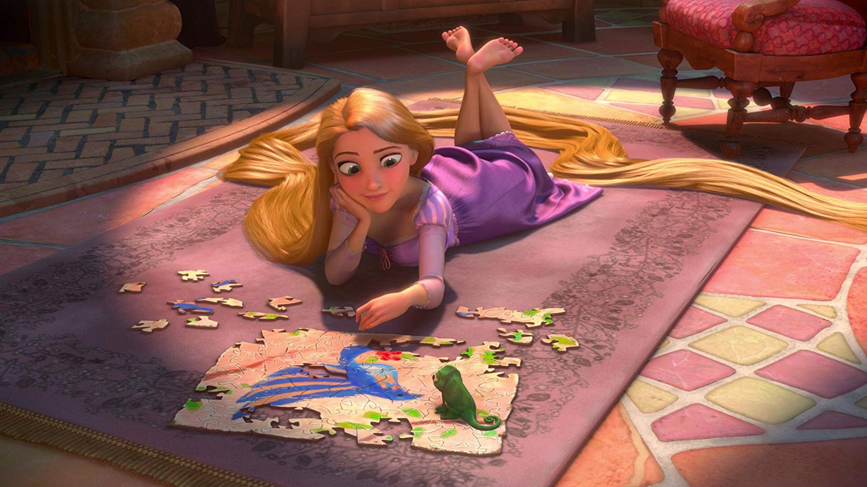 An imprisoned Rapunzel (voiced by Mandy Moore) along with her chameleon companion Pascal in Tangled (2010)