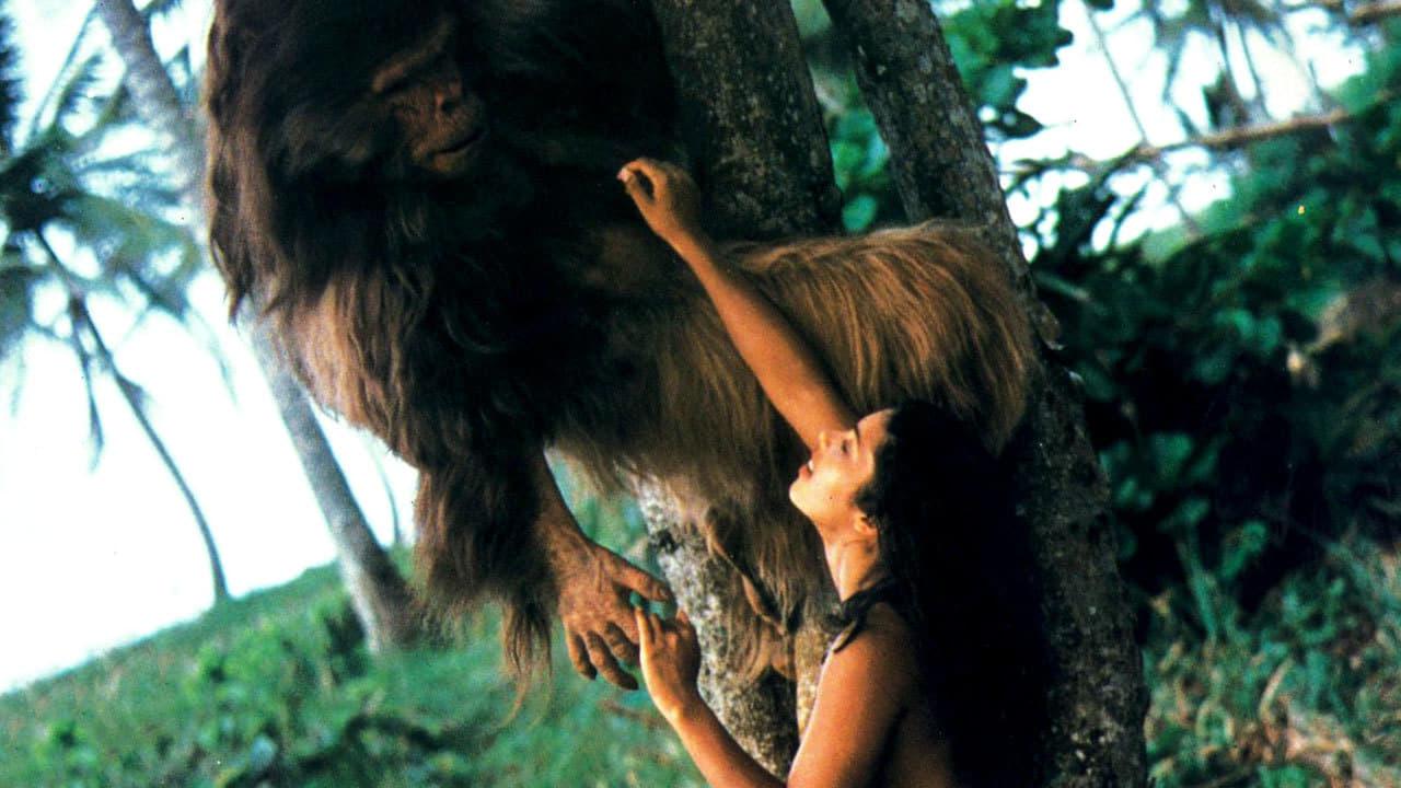 Tanya (D.D. Winters aka Vanity) and ape paramour in Tanya's Island (1980)