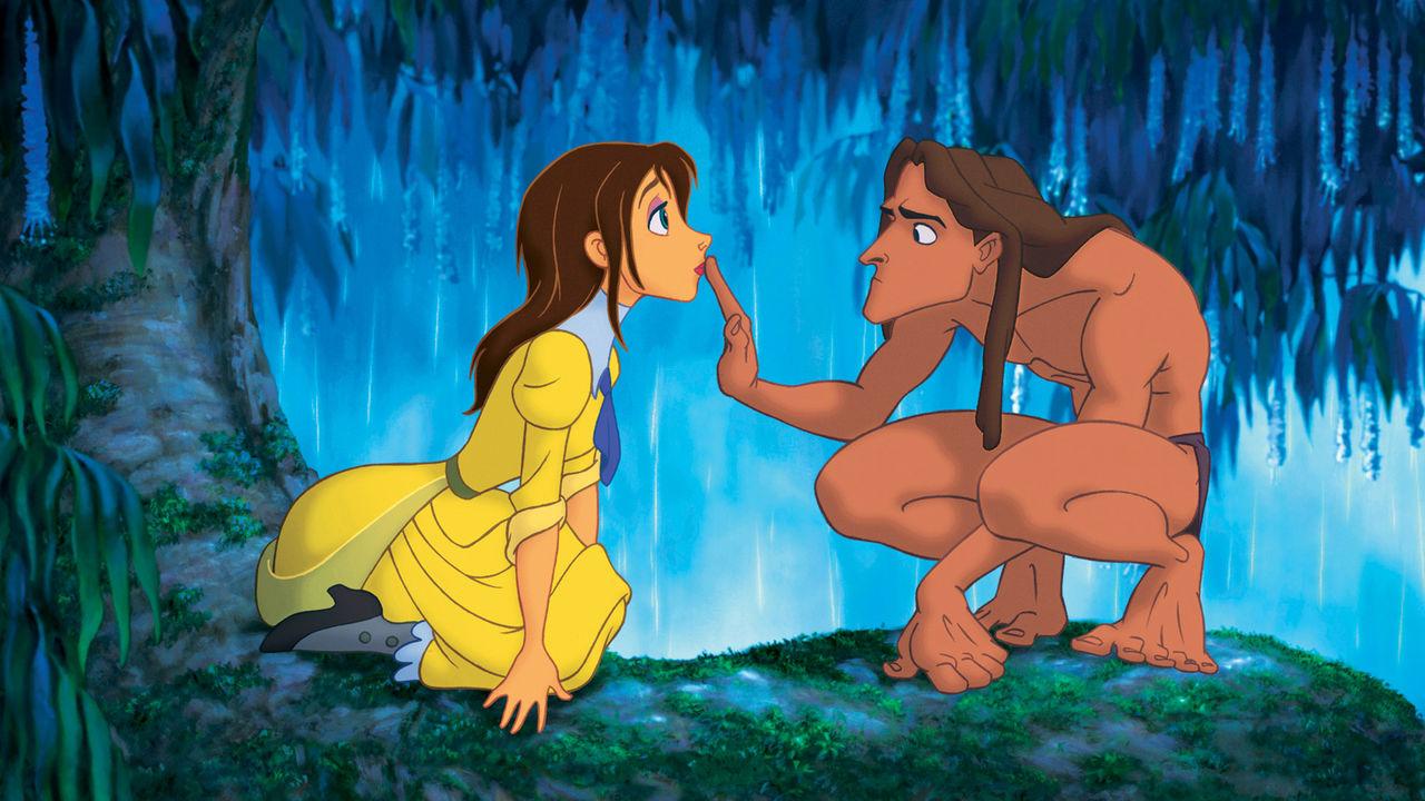 Tarzan (voiced by Tony Goldwyn) meets Jane (voiced by Minnie Driver) in Tarzan (1999)