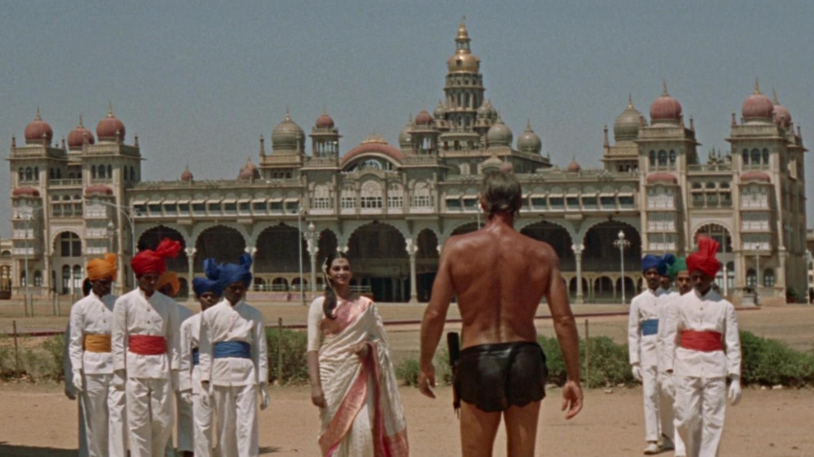 Tarzan (Jock Mahoney) (centre with back to camera) arrives in India in Tarzan Goes to India (1962)