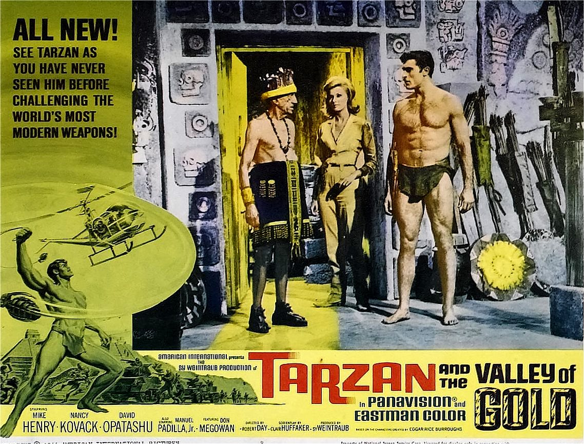 Tarzan (Mike Henry) and Nancy Kovack arrive in the lost city in Tarzan and the Valley of Gold (1966)