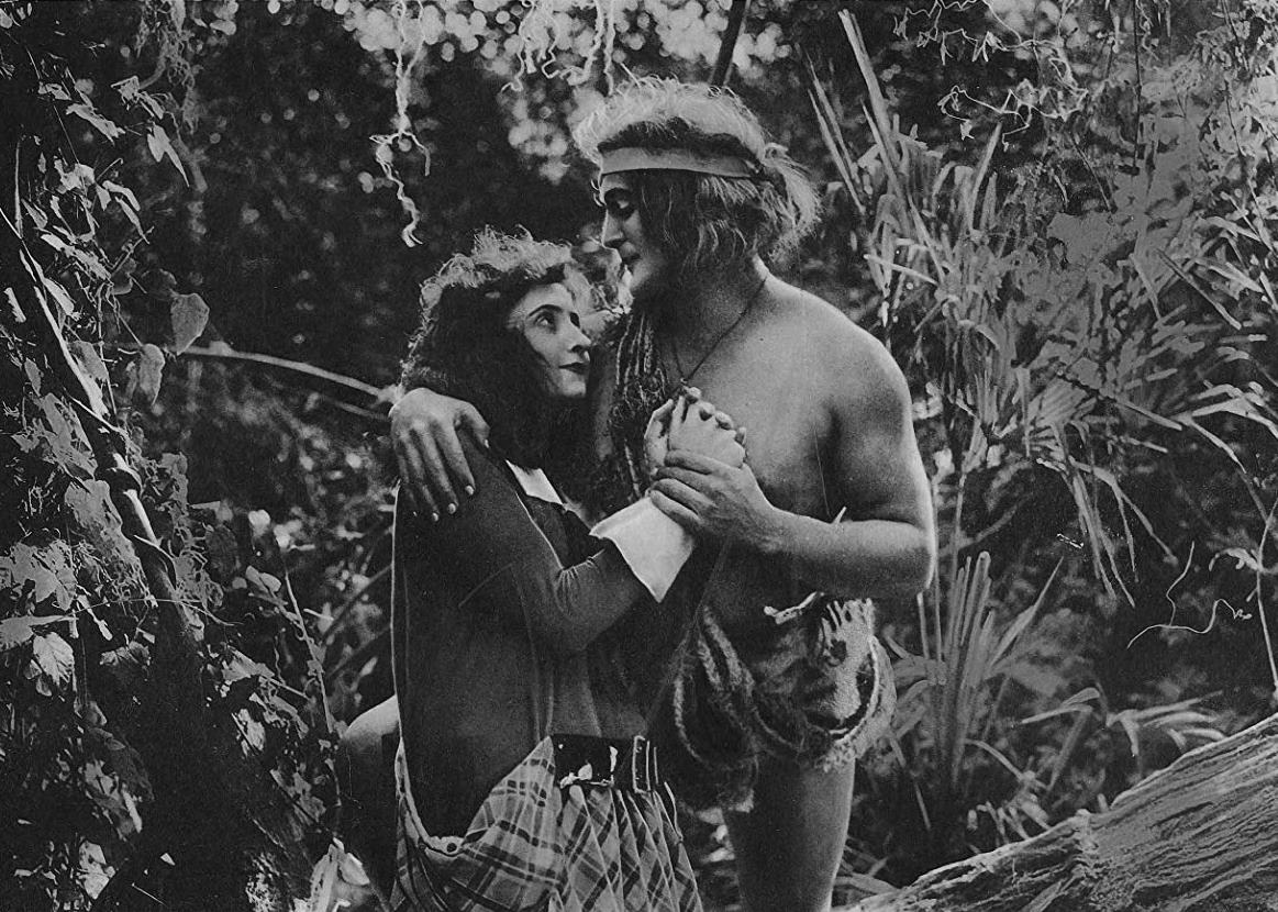 The first screen Tarzan (Elmo Lincoln) and Jane (Enid Markey) in Tarzan of the Apes (1918)