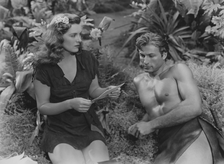 Tarzan (Lex Barker) and Jane (Brenda Joyce) in Tarzan's Magic Fountain (1949)
