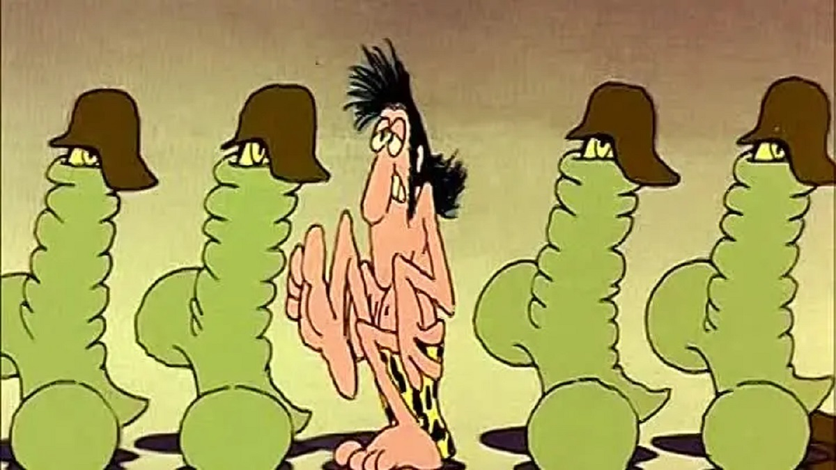 Tarzoon and the penis soldiers in Tarzoon, Shame of the Jungle (1975)