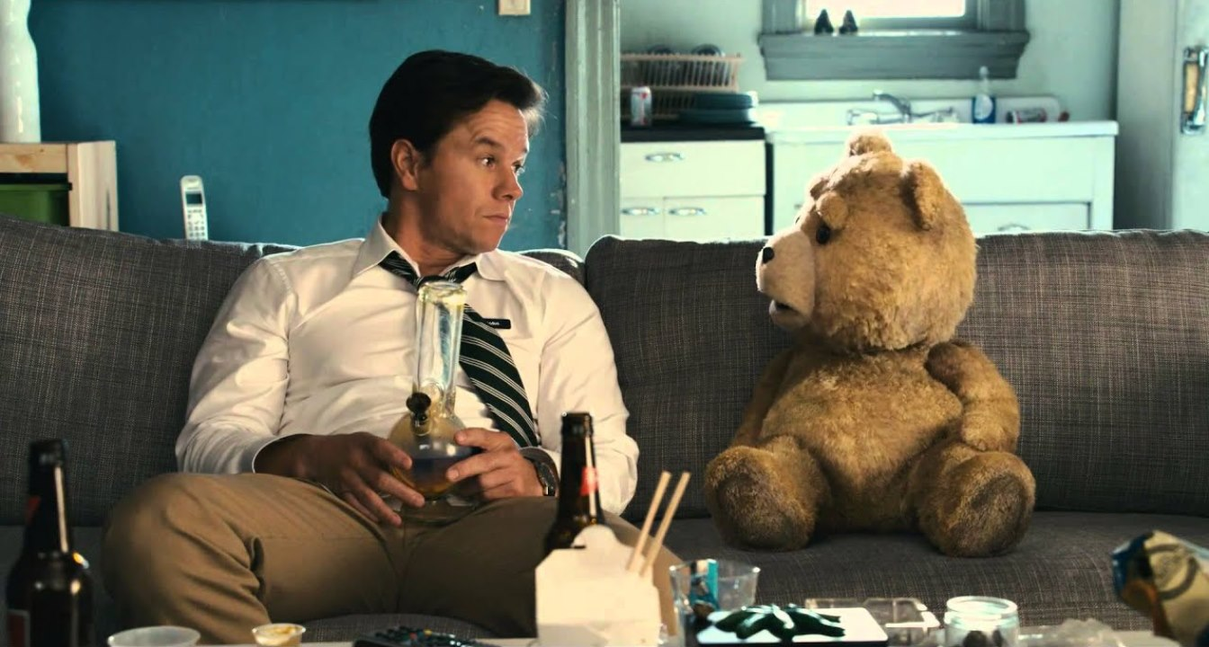 Mark Wahlberg and Ted share a bong in Ted (2012)
