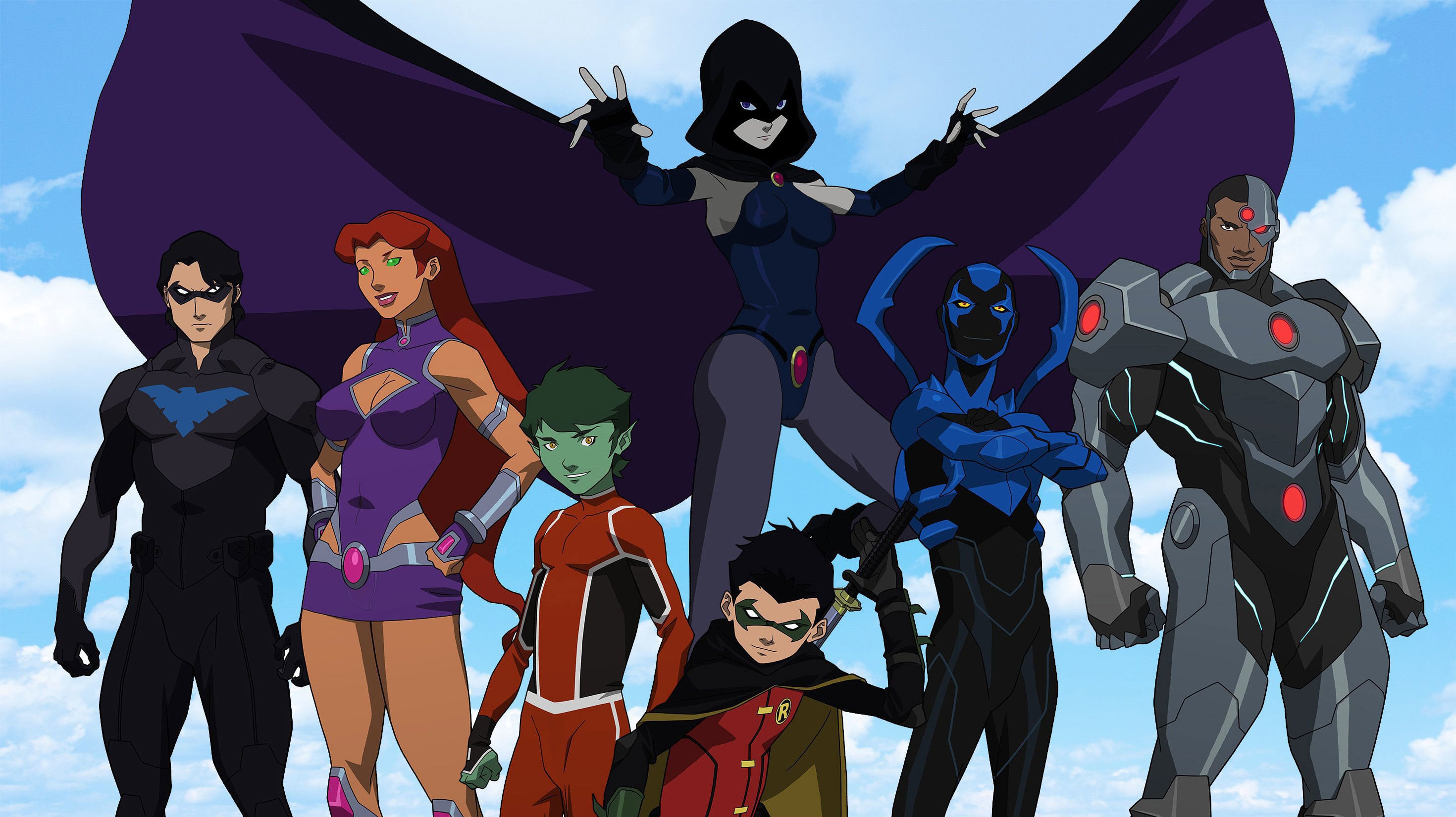 Nightwing, Starfire, Beast Boy, Raven, Damian Wayne/Robin, Blue Beetle and Cyborg in Teen Titans The Judas Contract (2017)