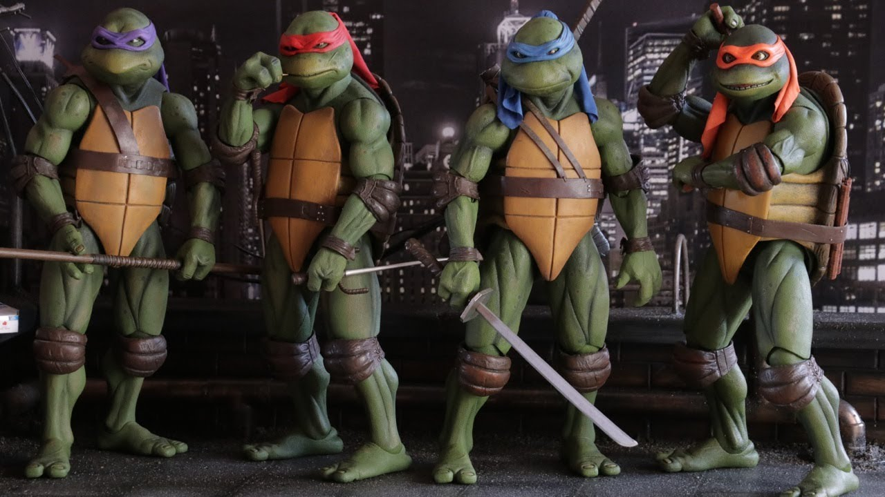 The Teenage Mutant Ninja Turtles - (l to r) Donatello, Raphael, Leonardo and Michelangelo in Teenage Mutant Ninja Turtles (1990)