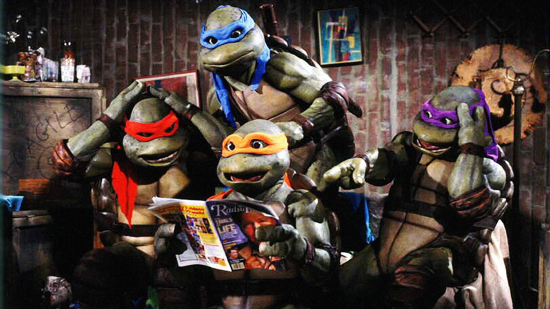 The Turtles in their sewer lair in Teenage Mutant Ninja Turtles (1990)