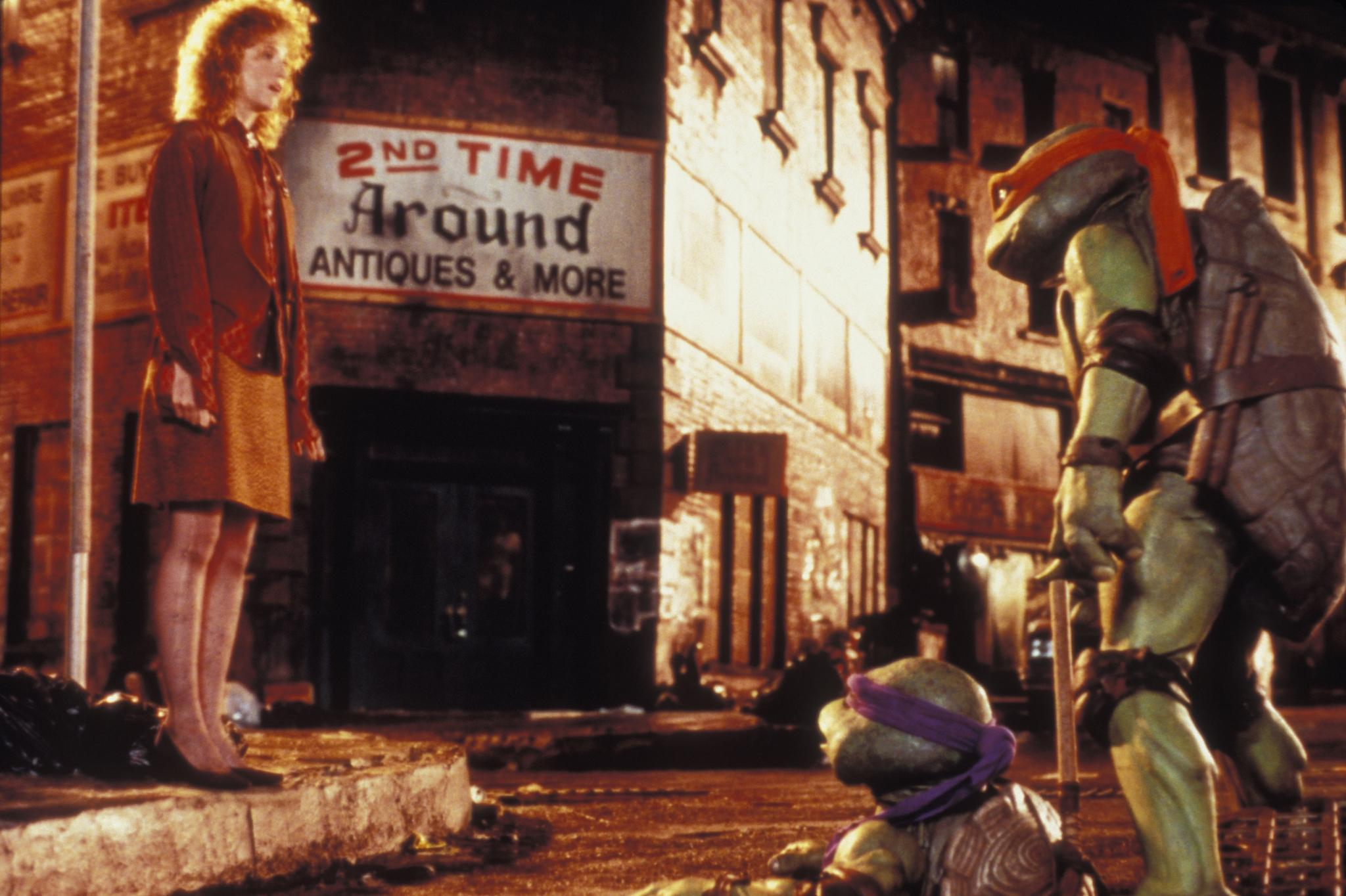 The Turtles meet April O'Neil (Judith Hoag) in Teenage Mutant Ninja Turtles (1990)