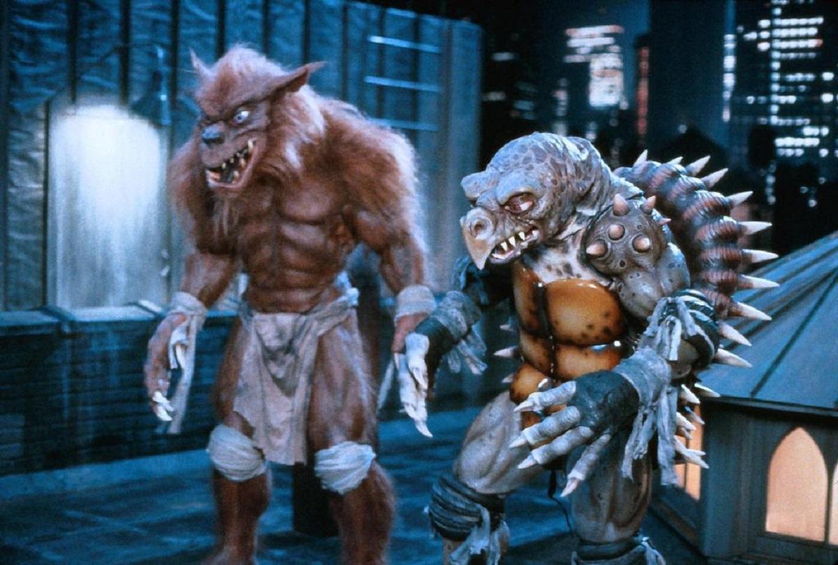The new mutant creatures - (l to r) Rhaza (Mark Ghinter) and Tokkar (Kurt Bryant) in Teenage Mutant Ninja Turtles II: The Secret of the Ooze (1991)
