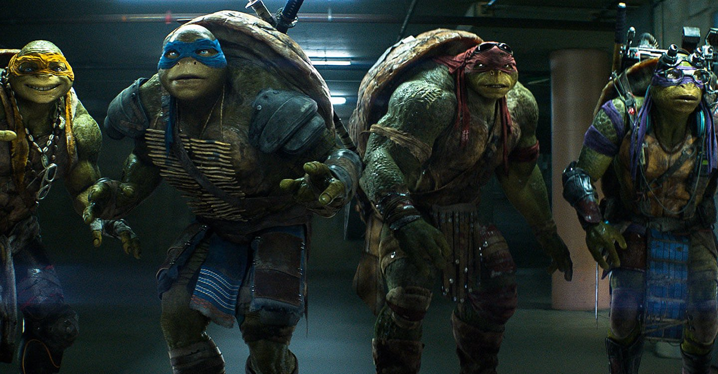The return of the Turtes - (l to r) Michelangelo, Leonardo, Raphael and Donatello in Teenage Mutant Ninja Turtles: Out of the Shadows (2016)