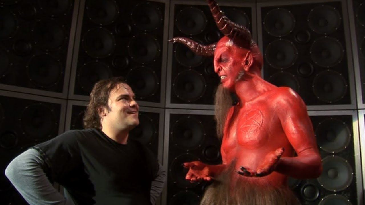 Jack Black in a showdown with Satan (Dave Grohl) in Tenacious D and the Pick of Destiny (2006)