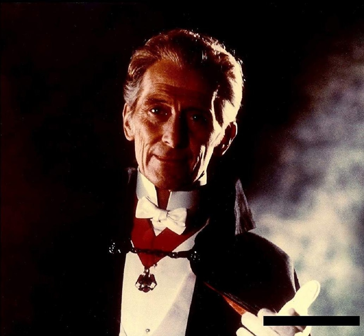 Peter Cushing as a vampire (or at least playing the horror actor MacGregor) in Tender Dracula (1974)
