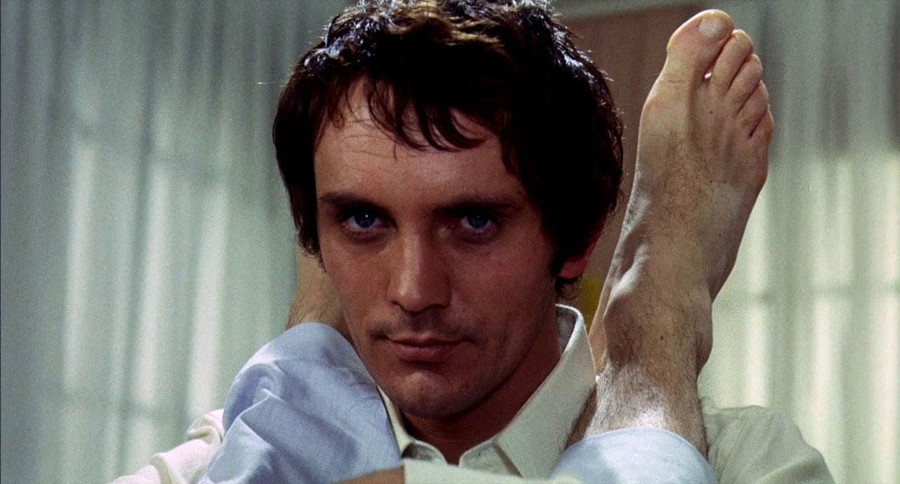 Terence Stamp as the mysterious visitor in Teorema (1968)